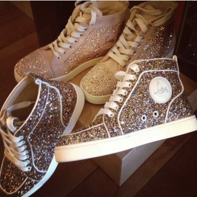 christian louboutin gold glitter sneakers