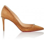 christian louboutin beige suede pumps